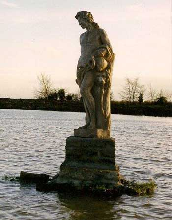 Statue of Bacchus in the restored lake - to replace the statue of Meleager, which was moved to the more sheltered Walled Garden for protection